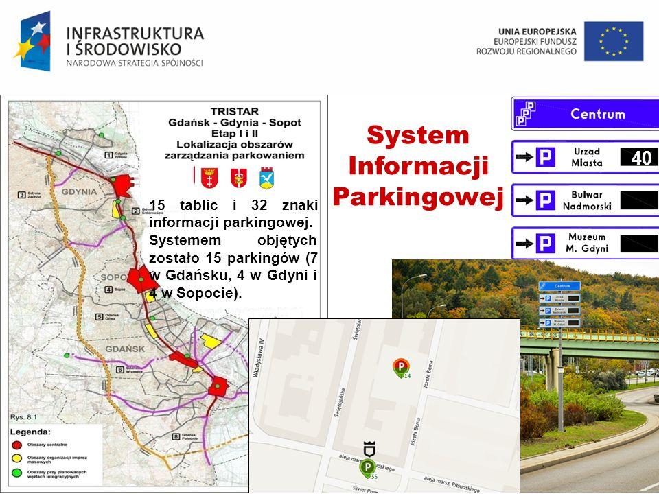 TPZP GA34 SP26 GD1025 Jacek Oskarbski 15 tablic i 32 znaki informacji parkingowej. Systemem objętych zostało 15 parkingów (7 w Gdańsku, 4 w Gdyni i 4
