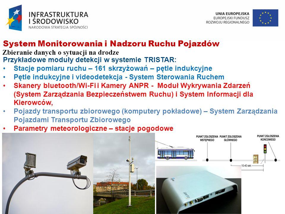 System Monitorowania i Nadzoru Ruchu Pojazdów Zbieranie danych o sytuacji na drodze Przykładowe moduły detekcji w systemie TRISTAR: Stacje pomiaru ruc