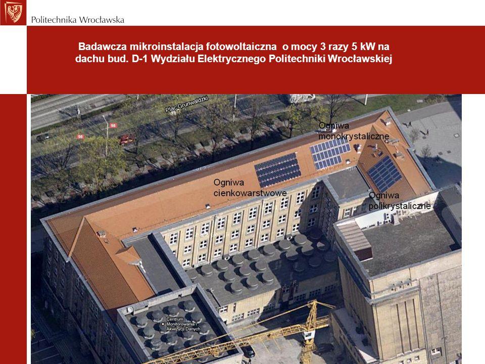 Badawcza mikroinstalacja fotowoltaiczna o mocy 3 razy 5 kW na dachu bud. D-1 Wydziału Elektrycznego Politechniki Wrocławskiej
