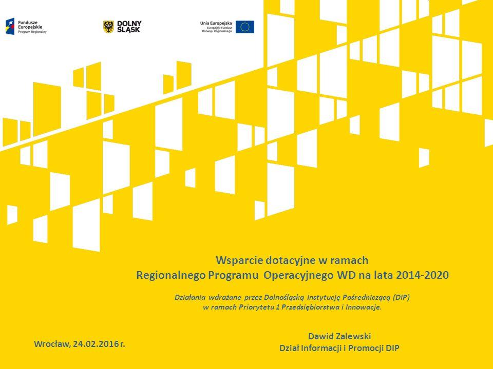 Wsparcie dotacyjne w ramach Regionalnego Programu Operacyjnego WD na lata 2014-2020 Działania wdrażane przez Dolnośląską Instytucję Pośredniczącą (DIP) w ramach Priorytetu 1 Przedsiębiorstwa i Innowacje.