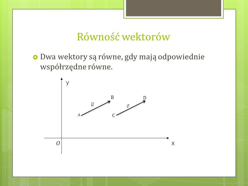 Równość wektorów  Dwa wektory są równe, gdy mają odpowiednie współrzędne równe. A B C D y x O