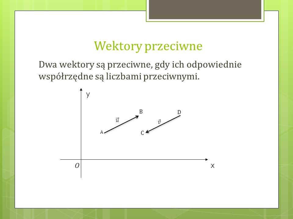 Wektory przeciwne Dwa wektory są przeciwne, gdy ich odpowiednie współrzędne są liczbami przeciwnymi. A B C D y x O