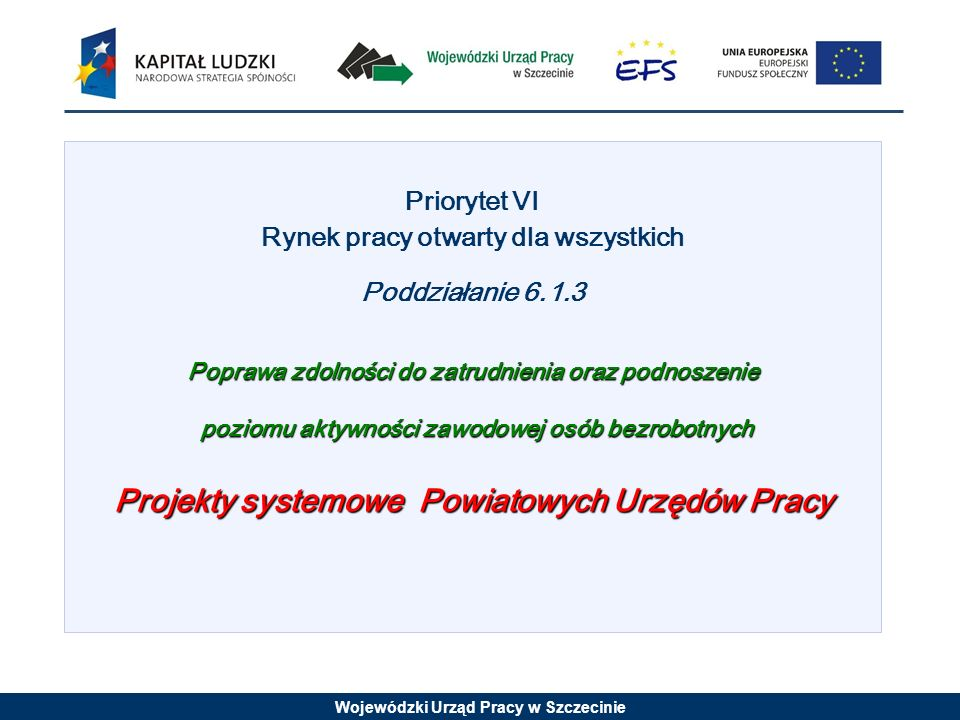 Wojewódzki Urząd Pracy w Szczecinie Priorytet VI Rynek pracy otwarty dla wszystkich Poddziałanie 6.1.3 Poprawa zdolności do zatrudnienia oraz podnoszenie poziomu aktywności zawodowej osób bezrobotnych poziomu aktywności zawodowej osób bezrobotnych Projekty systemowe Powiatowych Urzędów Pracy