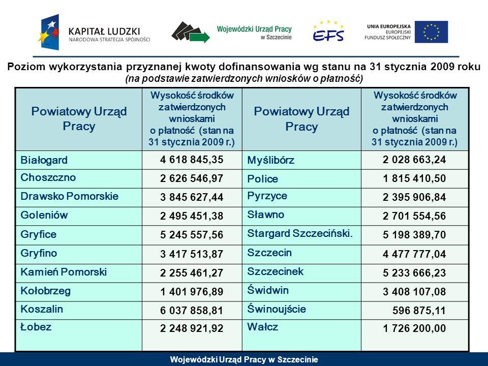 Wojewódzki Urząd Pracy w Szczecinie Powiatowy Urząd Pracy Wysokość środków zatwierdzonych wnioskami o płatność (stan na 31 stycznia 2009 r. ) Powiatow