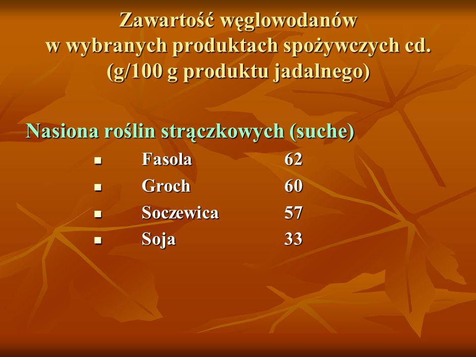 Zawartość węglowodanów w wybranych produktach spożywczych cd. (g/100 g produktu jadalnego) Nasiona roślin strączkowych (suche) Fasola62 Fasola62 Groch