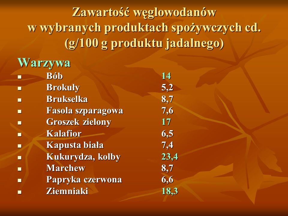 Zawartość węglowodanów w wybranych produktach spożywczych cd. (g/100 g produktu jadalnego) Warzywa Bób 14 Bób 14 Brokuły5,2 Brokuły5,2 Brukselka8,7 Br