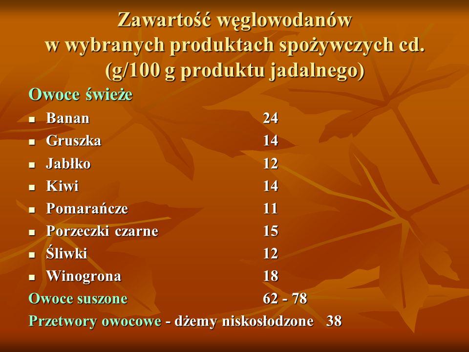 Zawartość węglowodanów w wybranych produktach spożywczych cd. (g/100 g produktu jadalnego) Owoce świeże Banan24 Banan24 Gruszka14 Gruszka14 Jabłko12 J