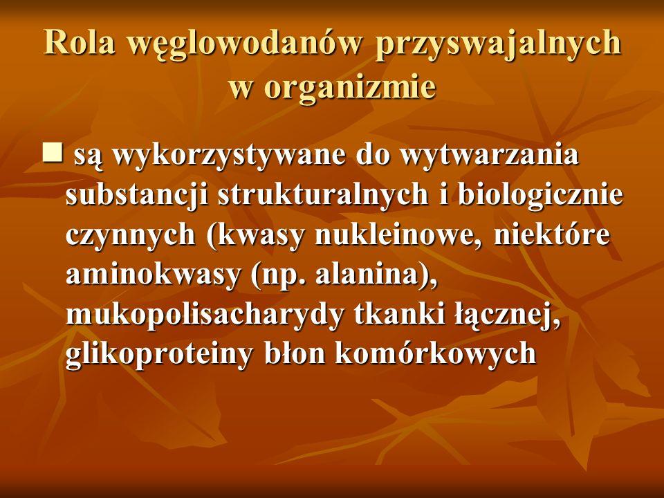 Rola węglowodanów przyswajalnych w organizmie są wykorzystywane do wytwarzania substancji strukturalnych i biologicznie czynnych (kwasy nukleinowe, ni