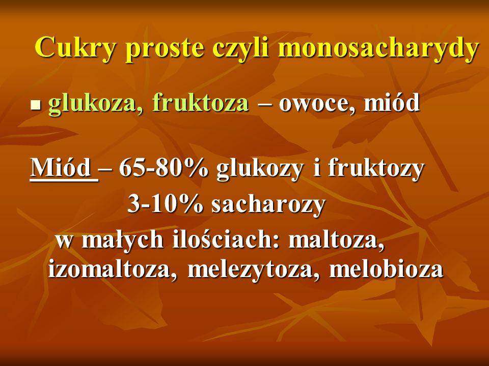 Cukry proste czyli monosacharydy glukoza, fruktoza – owoce, miód glukoza, fruktoza – owoce, miód Miód – 65-80% glukozy i fruktozy 3-10% sacharozy w ma