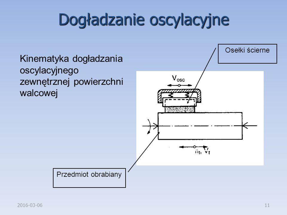 2016-03-0611 Kinematyka dogładzania oscylacyjnego zewnętrznej powierzchni walcowej Przedmiot obrabiany Osełki ścierne Dogładzanie oscylacyjne