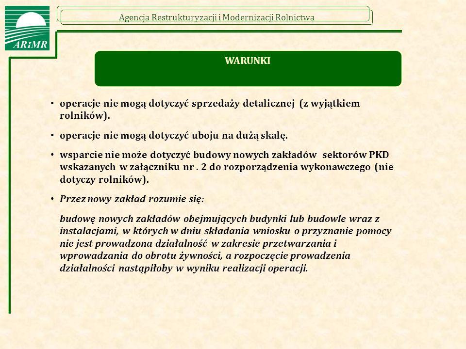 Agencja Restrukturyzacji i Modernizacji Rolnictwa operacje nie mogą dotyczyć sprzedaży detalicznej (z wyjątkiem rolników). operacje nie mogą dotyczyć