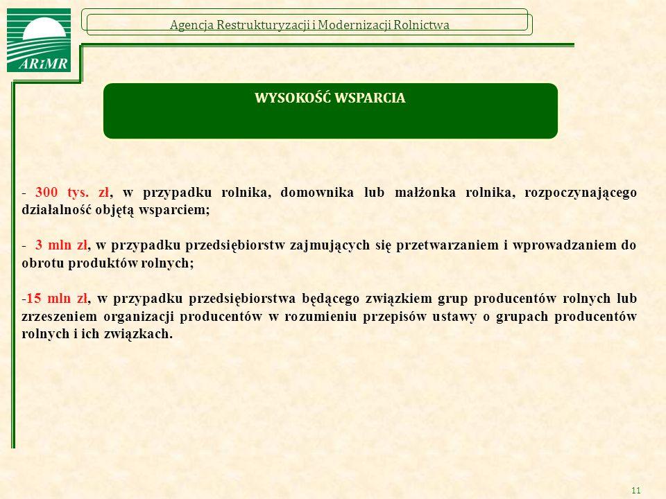 Agencja Restrukturyzacji i Modernizacji Rolnictwa - 300 tys. zł, w przypadku rolnika, domownika lub małżonka rolnika, rozpoczynającego działalność obj