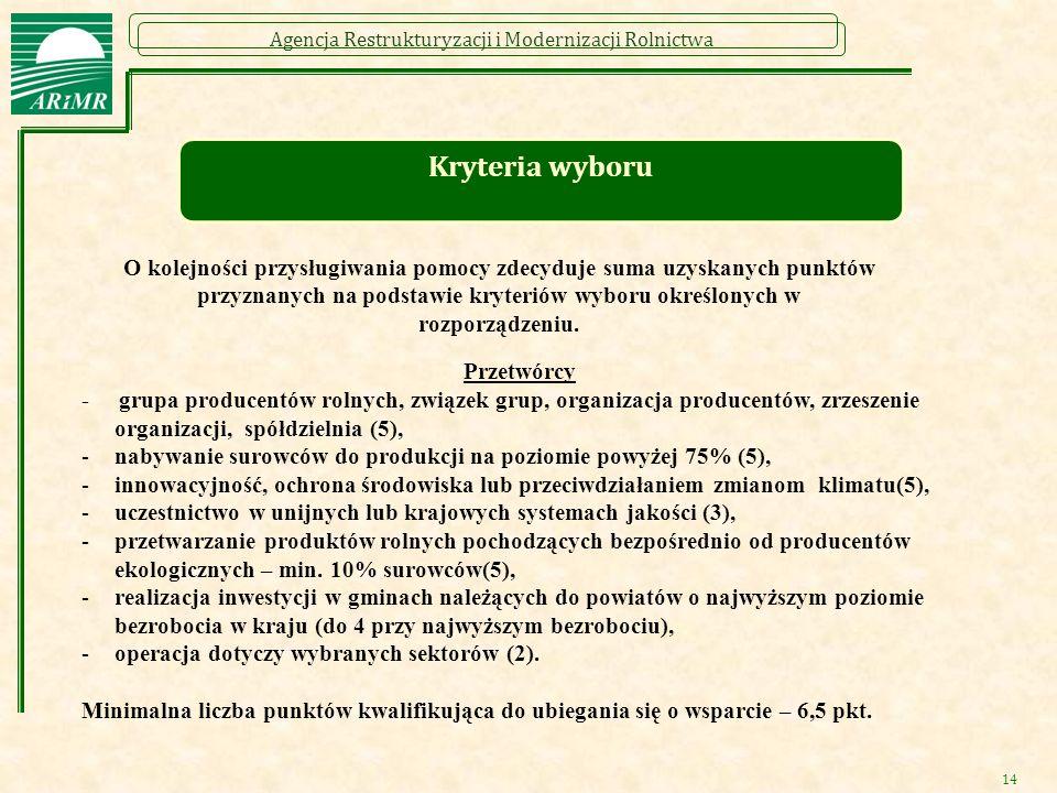 Agencja Restrukturyzacji i Modernizacji Rolnictwa Kryteria wyboru Przetwórcy - grupa producentów rolnych, związek grup, organizacja producentów, zrzes