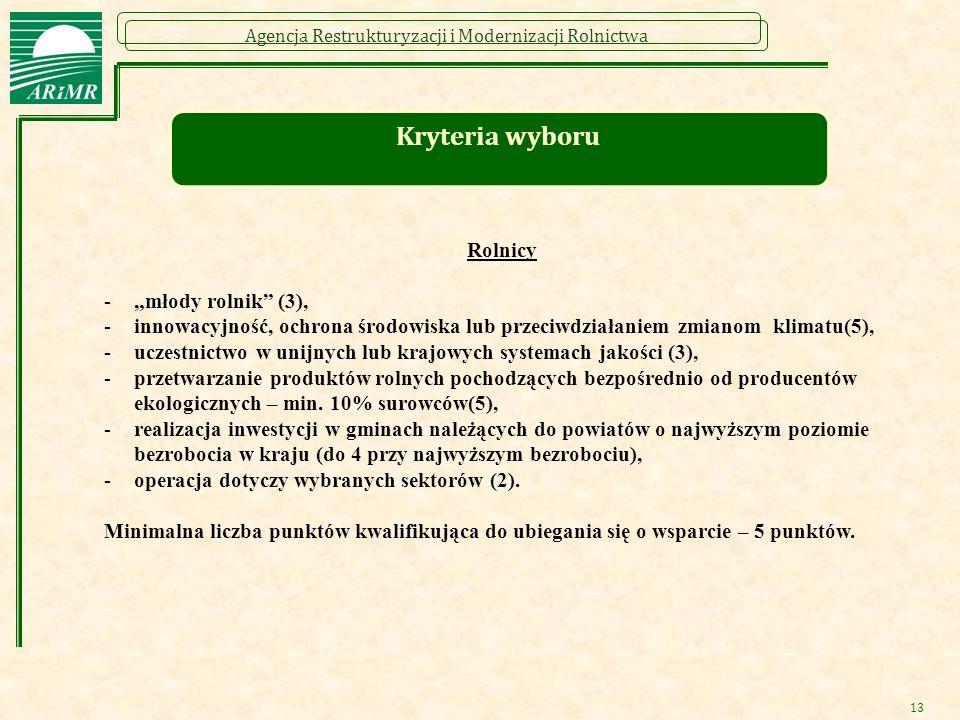 """Agencja Restrukturyzacji i Modernizacji Rolnictwa 13 Kryteria wyboru Rolnicy -""""młody rolnik"""" (3), -innowacyjność, ochrona środowiska lub przeciwdziała"""