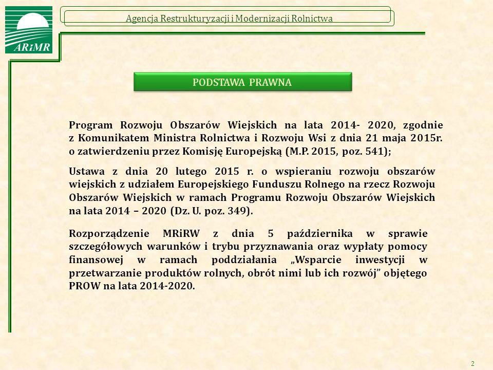 Agencja Restrukturyzacji i Modernizacji Rolnictwa 2 PODSTAWA PRAWNA Program Rozwoju Obszarów Wiejskich na lata 2014- 2020, zgodnie z Komunikatem Minis