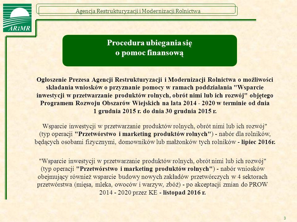 Agencja Restrukturyzacji i Modernizacji Rolnictwa 3 Procedura ubiegania się o pomoc finansową Ogłoszenie Prezesa Agencji Restrukturyzacji i Modernizac