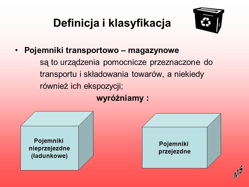 Pojemniki nieprzejezdne (ładunkowe) Pojemniki ładunkowe są to zasobniki o różnych kształtach, konstrukcjach i wymiarach, wykonywane z różnych materiałów głównie z blachy, tworzyw sztucznych i drewna Pojemniki te szczególnie szeroko stosowane są w logistycznych systemach wewnętrznego obrotu towarowego Cechą charakterystyczną pojemników ładunkowych powinna być ich normalizacja na bazie modułu przestrzennego o wymiarach 800 x 1200 x 1000 mm, oznaczającego gabaryty eurojednostki ładunkowej