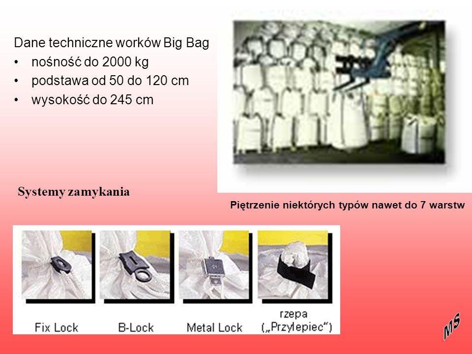 Dane techniczne worków Big Bag nośność do 2000 kg podstawa od 50 do 120 cm wysokość do 245 cm Systemy zamykania Piętrzenie niektórych typów nawet do 7
