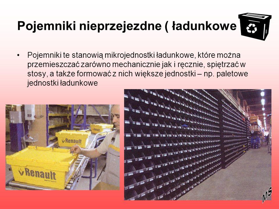 Pojemniki sztaplowalno – gniazdowe dostosowane do transportu wartościowych przedmiotów przez wyposażenie w specjalne plomby, temperatura pracy – 200 C do + 600 C
