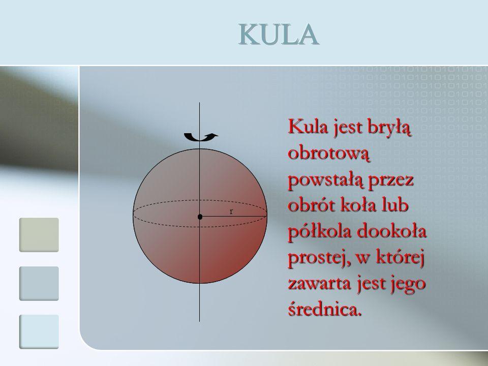 r Kula jest bryłą obrotową powstałą przez obrót koła lub półkola dookoła prostej, w której zawarta jest jego średnica.