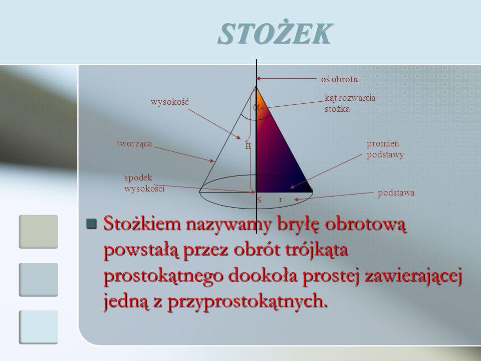 V – objętość stożka, r – promień podstawy, H – wysokość.