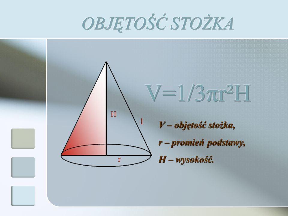 Pb – pole powierzchni bocznej, Pc – pole powierzchni całkowitej, r – promień podstawy, H – wysokość stożka, l – tworząca stożka.