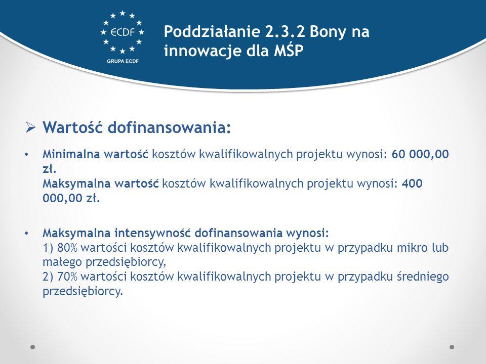  Wartość dofinansowania: Minimalna wartość kosztów kwalifikowalnych projektu wynosi: 60 000,00 zł.