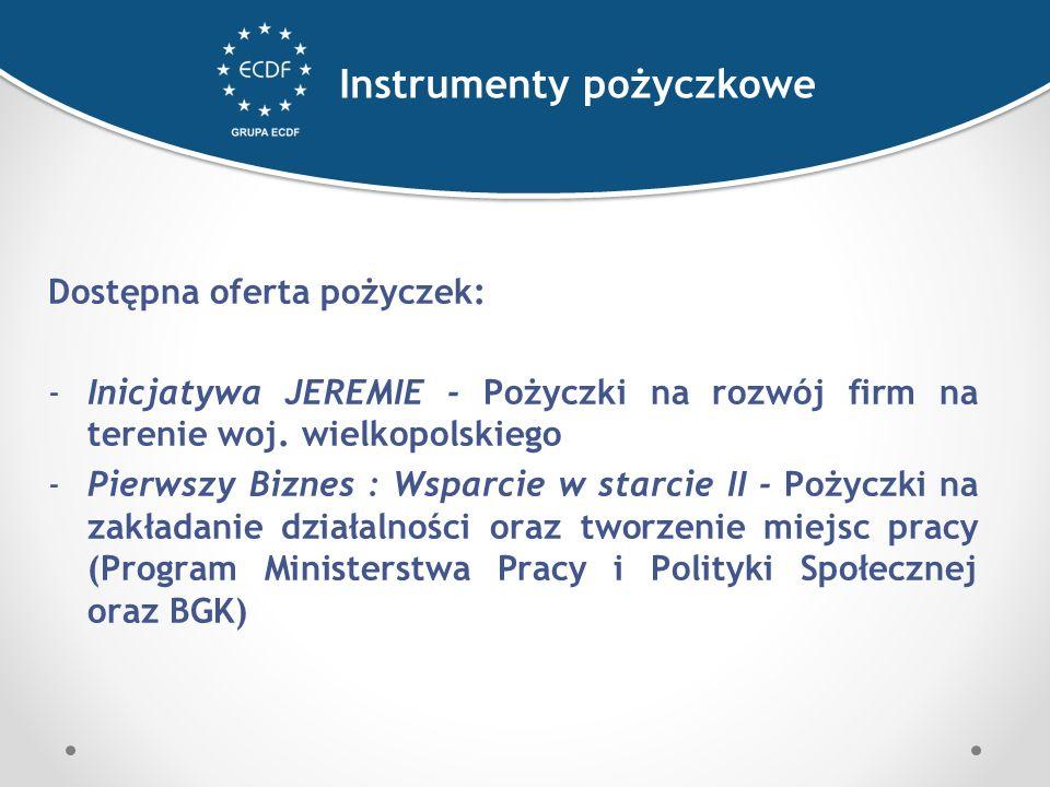 Dostępna oferta pożyczek: -Inicjatywa JEREMIE - Pożyczki na rozwój firm na terenie woj.
