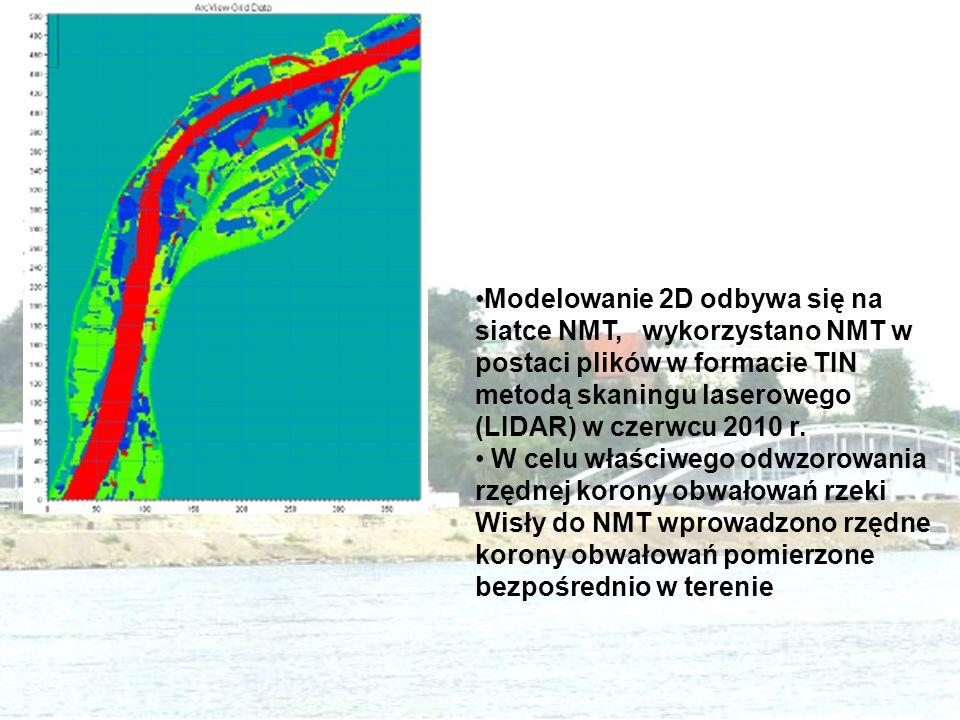 Modelowanie 2D odbywa się na siatce NMT, wykorzystano NMT w postaci plików w formacie TIN metodą skaningu laserowego (LIDAR) w czerwcu 2010 r. W celu