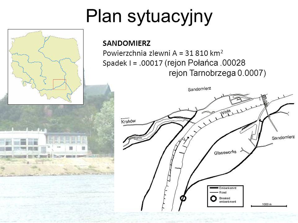 Plan sytuacyjny SANDOMIERZ Powierzchnia zlewni A = 31 810 km 2 Spadek I =.00017 (rejon Połańca.00028 rejon Tarnobrzega 0.0007)