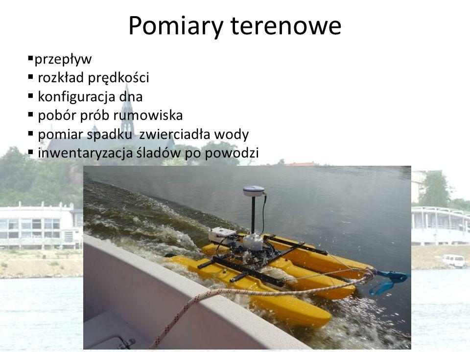 Pomiary terenowe  przepływ  rozkład prędkości  konfiguracja dna  pobór prób rumowiska  pomiar spadku zwierciadła wody  inwentaryzacja śladów po
