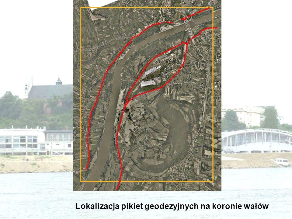 Lokalizacja pikiet geodezyjnych na koronie wałów