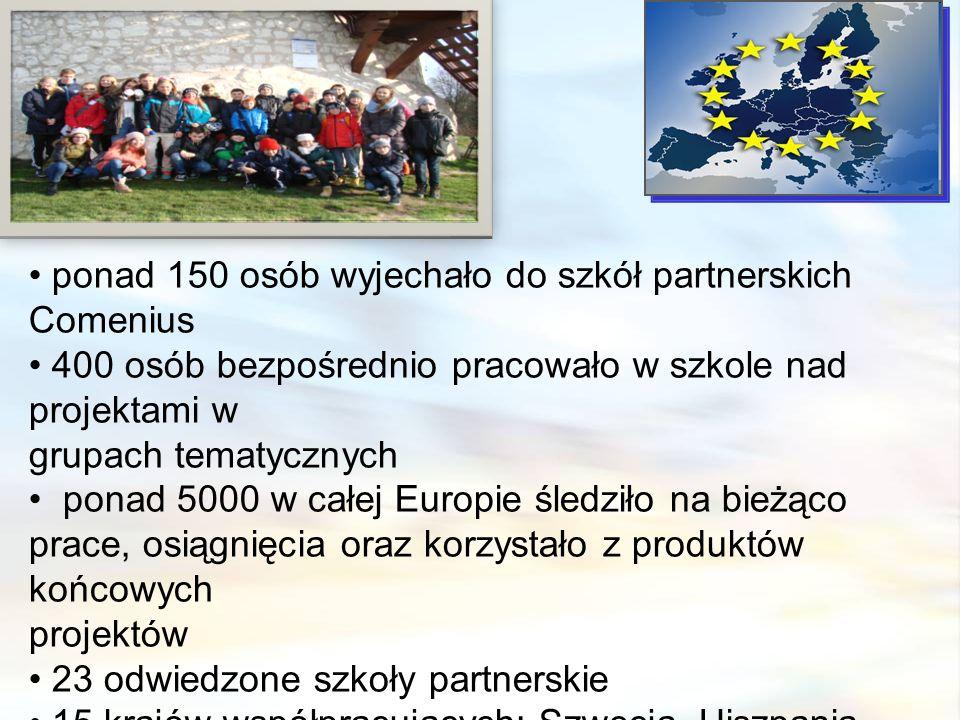 ponad 150 osób wyjechało do szkół partnerskich Comenius 400 osób bezpośrednio pracowało w szkole nad projektami w grupach tematycznych ponad 5000 w całej Europie śledziło na bieżąco prace, osiągnięcia oraz korzystało z produktów końcowych projektów 23 odwiedzone szkoły partnerskie 15 krajów współpracujących: Szwecja, Hiszpania, Niemcy, Włochy, Grecja, Walia, Anglia, Bułgaria, Rumunia, Finlandia, Turcja, Polska, Czechy, Francja, Litwa