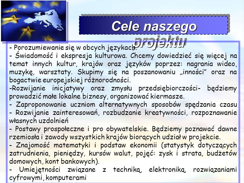 Cele naszego projektu - Porozumiewanie się w obcych językach. - Świadomość i ekspresja kulturowa. Chcemy dowiedzieć się więcej na temat innych kultur,
