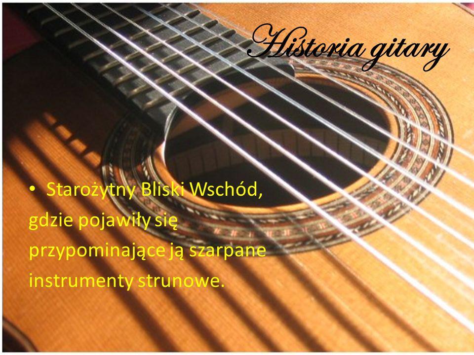 Historia gitary Starożytny Bliski Wschód, gdzie pojawiły się przypominające ją szarpane instrumenty strunowe.