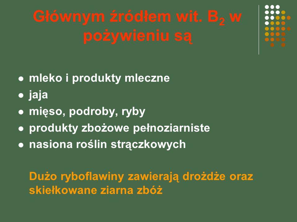 Głównym źródłem wit. B 2 w pożywieniu są mleko i produkty mleczne jaja mięso, podroby, ryby produkty zbożowe pełnoziarniste nasiona roślin strączkowyc