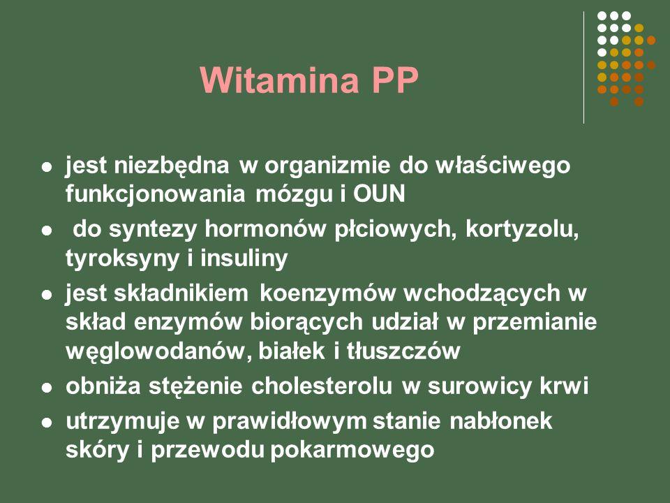 Witamina PP jest niezbędna w organizmie do właściwego funkcjonowania mózgu i OUN do syntezy hormonów płciowych, kortyzolu, tyroksyny i insuliny jest składnikiem koenzymów wchodzących w skład enzymów biorących udział w przemianie węglowodanów, białek i tłuszczów obniża stężenie cholesterolu w surowicy krwi utrzymuje w prawidłowym stanie nabłonek skóry i przewodu pokarmowego