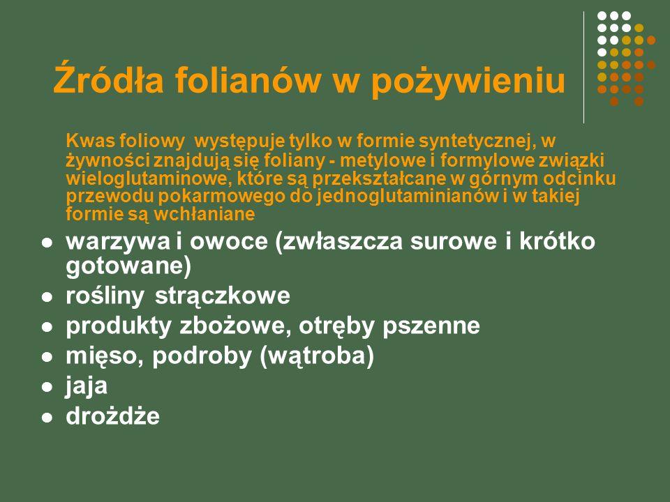 Źródła folianów w pożywieniu Kwas foliowy występuje tylko w formie syntetycznej, w żywności znajdują się foliany - metylowe i formylowe związki wielog