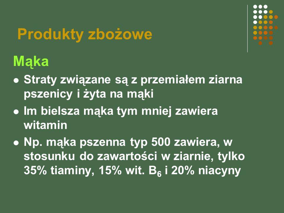 Produkty zbożowe Mąka Straty związane są z przemiałem ziarna pszenicy i żyta na mąki Im bielsza mąka tym mniej zawiera witamin Np. mąka pszenna typ 50