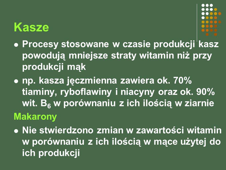 Kasze Procesy stosowane w czasie produkcji kasz powodują mniejsze straty witamin niż przy produkcji mąk np. kasza jęczmienna zawiera ok. 70% tiaminy,