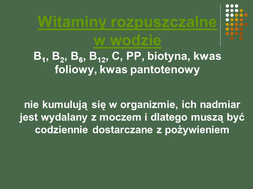 Witaminy rozpuszczalne w wodzie B 1, B 2, B 6, B 12, C, PP, biotyna, kwas foliowy, kwas pantotenowy nie kumulują się w organizmie, ich nadmiar jest wydalany z moczem i dlatego muszą być codziennie dostarczane z pożywieniem
