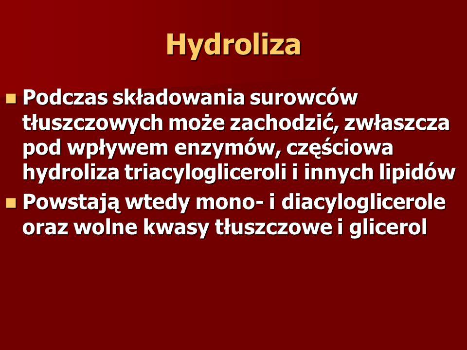Hydroliza Podczas składowania surowców tłuszczowych może zachodzić, zwłaszcza pod wpływem enzymów, częściowa hydroliza triacylogliceroli i innych lipidów Podczas składowania surowców tłuszczowych może zachodzić, zwłaszcza pod wpływem enzymów, częściowa hydroliza triacylogliceroli i innych lipidów Powstają wtedy mono- i diacyloglicerole oraz wolne kwasy tłuszczowe i glicerol Powstają wtedy mono- i diacyloglicerole oraz wolne kwasy tłuszczowe i glicerol