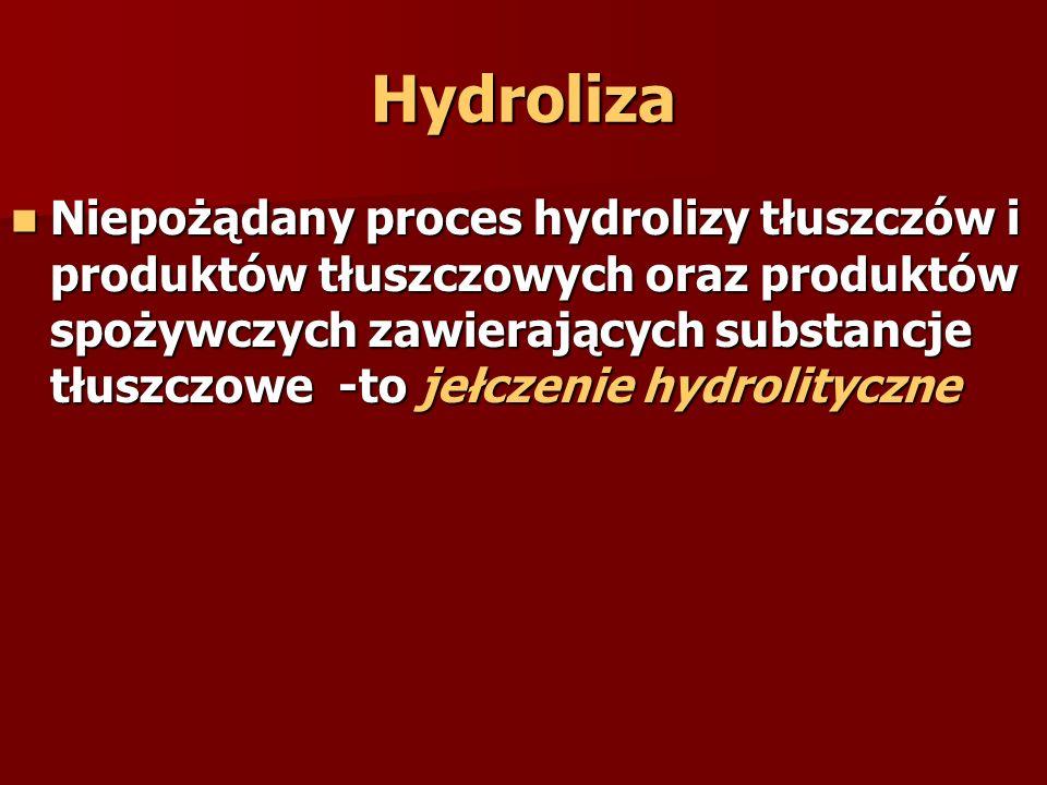 Hydroliza Niepożądany proces hydrolizy tłuszczów i produktów tłuszczowych oraz produktów spożywczych zawierających substancje tłuszczowe -to jełczenie hydrolityczne Niepożądany proces hydrolizy tłuszczów i produktów tłuszczowych oraz produktów spożywczych zawierających substancje tłuszczowe -to jełczenie hydrolityczne