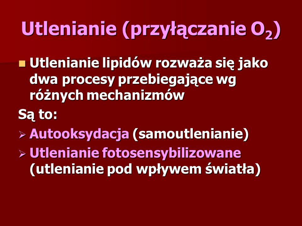 Utlenianie (przyłączanie O 2 ) Utlenianie lipidów rozważa się jako dwa procesy przebiegające wg różnych mechanizmów Utlenianie lipidów rozważa się jako dwa procesy przebiegające wg różnych mechanizmów Są to:  Autooksydacja (samoutlenianie)  Utlenianie fotosensybilizowane (utlenianie pod wpływem światła)