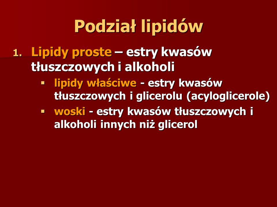 Podział lipidów 1. Lipidy proste – estry kwasów tłuszczowych i alkoholi  lipidy właściwe - estry kwasów tłuszczowych i glicerolu (acyloglicerole)  w