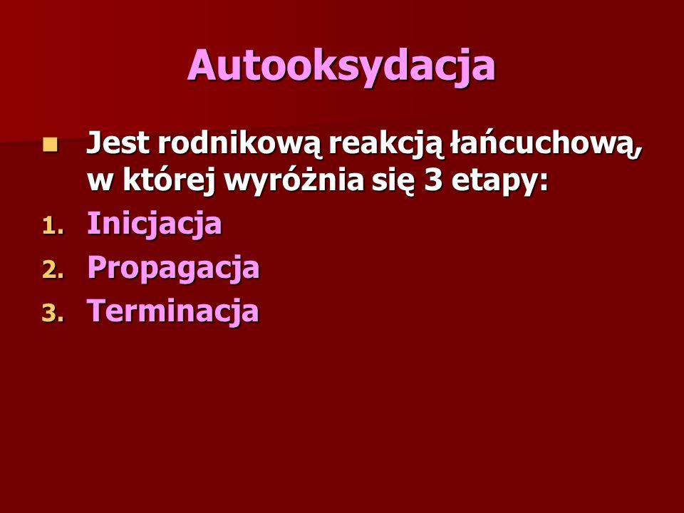 Autooksydacja Jest rodnikową reakcją łańcuchową, w której wyróżnia się 3 etapy: Jest rodnikową reakcją łańcuchową, w której wyróżnia się 3 etapy: 1.