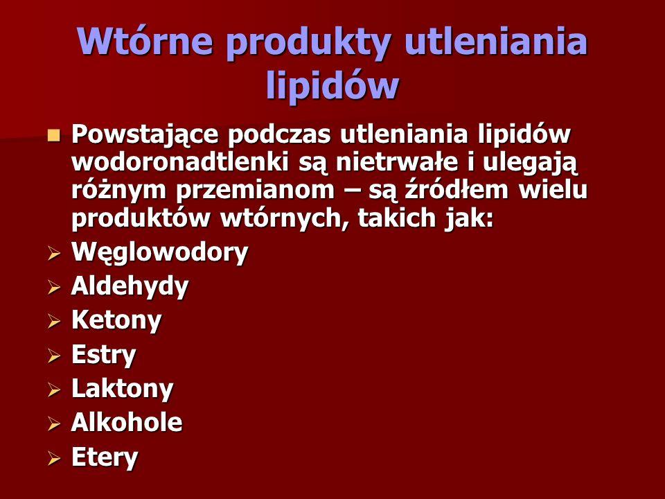 Wtórne produkty utleniania lipidów Powstające podczas utleniania lipidów wodoronadtlenki są nietrwałe i ulegają różnym przemianom – są źródłem wielu p