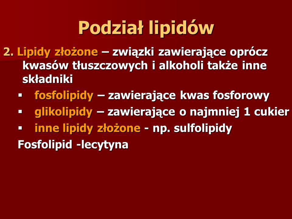 Podział lipidów 2. Lipidy złożone – związki zawierające oprócz kwasów tłuszczowych i alkoholi także inne składniki  fosfolipidy – zawierające kwas fo