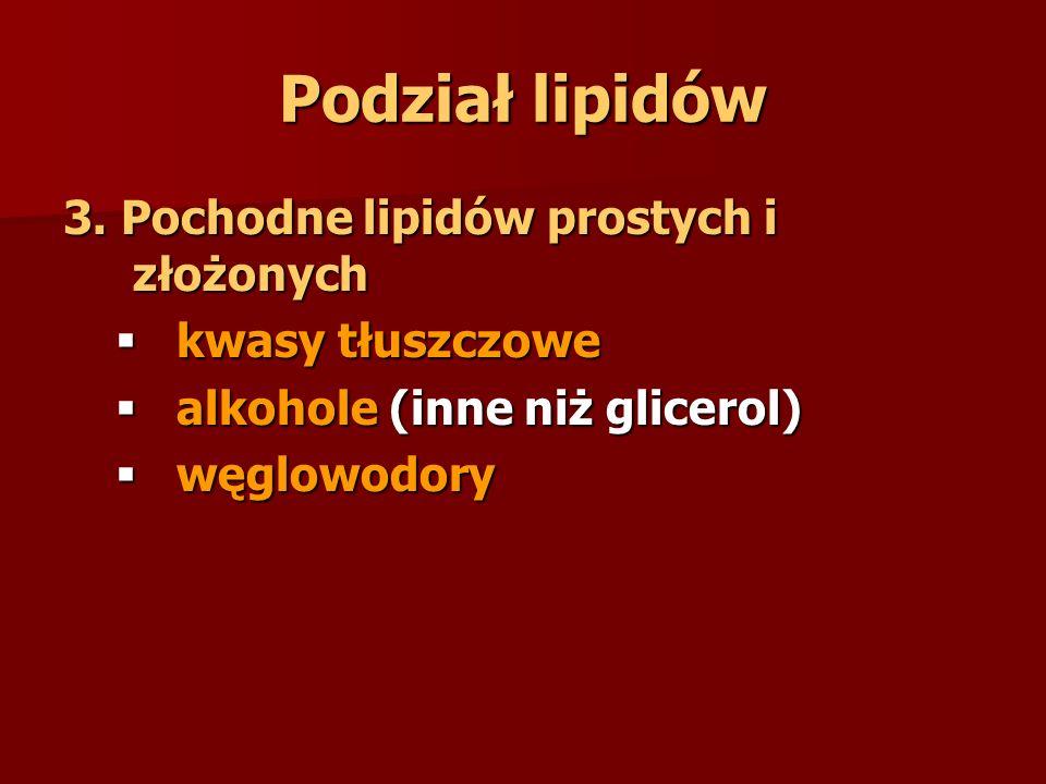 Podział lipidów 3. Pochodne lipidów prostych i złożonych  kwasy tłuszczowe  alkohole (inne niż glicerol)  węglowodory