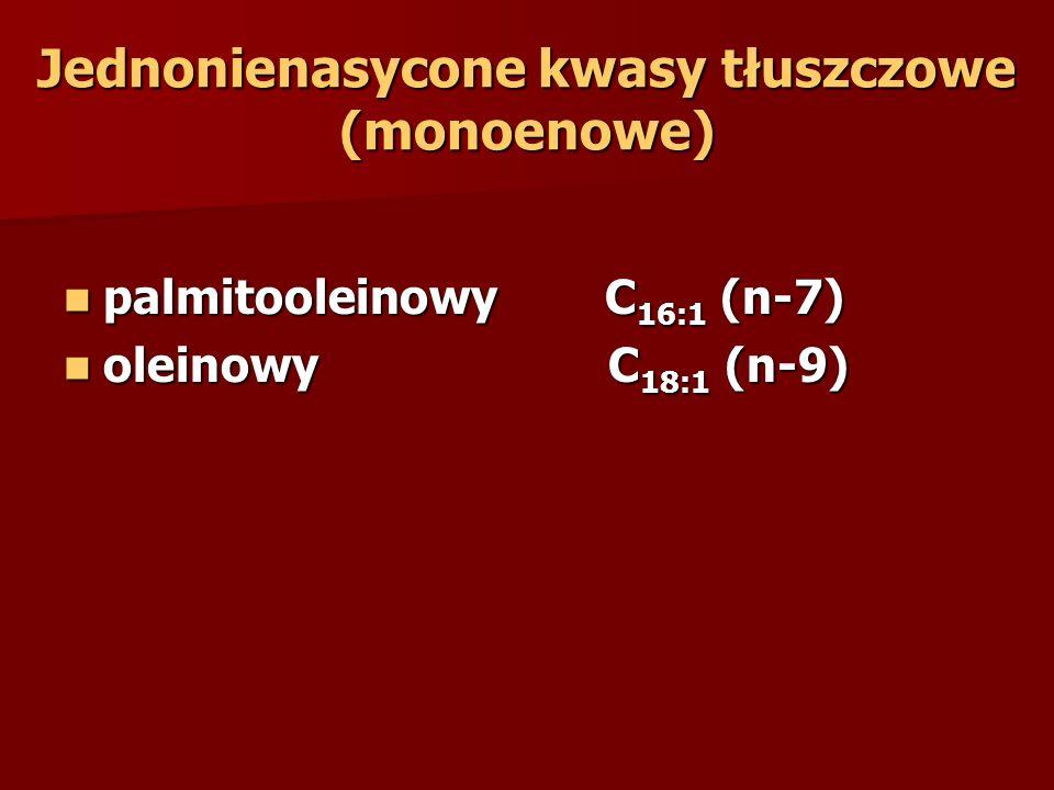 Jednonienasycone kwasy tłuszczowe (monoenowe) palmitooleinowy C 16:1 (n-7) palmitooleinowy C 16:1 (n-7) oleinowy C 18:1 (n-9) oleinowy C 18:1 (n-9)
